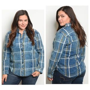 Plus Denim Checkered Top